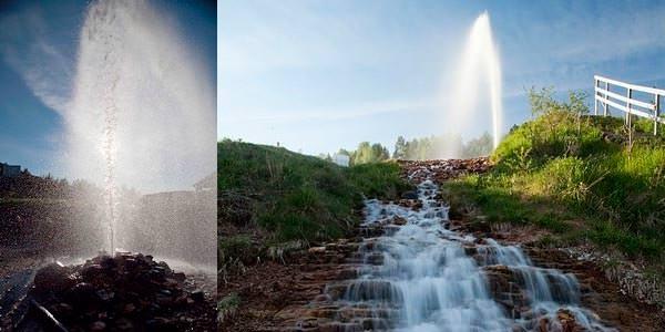 Деревня Опоки: гейзер на берегу реки Сухоны
