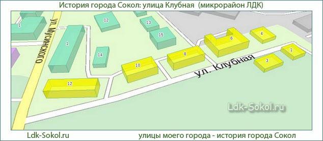 Улица Клубная город Сокол