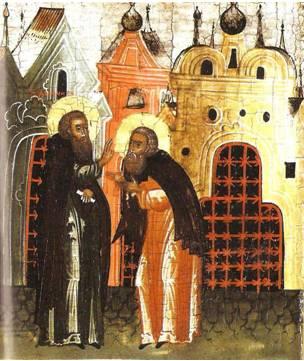 Преподобный Павел принимает благословение Дионисия