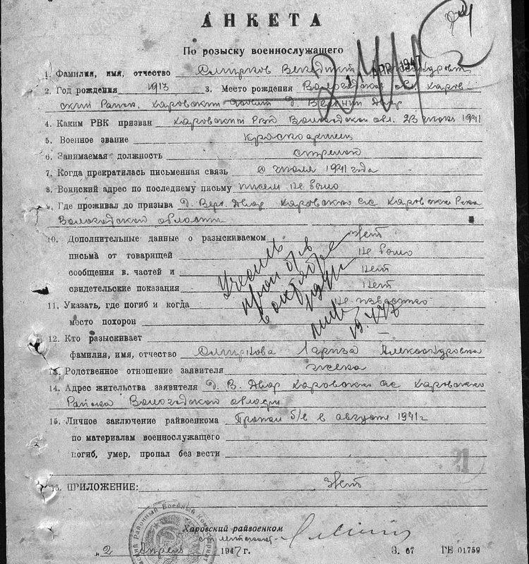 Анкета военнообязанного: Смирнов Венедикт Александрович