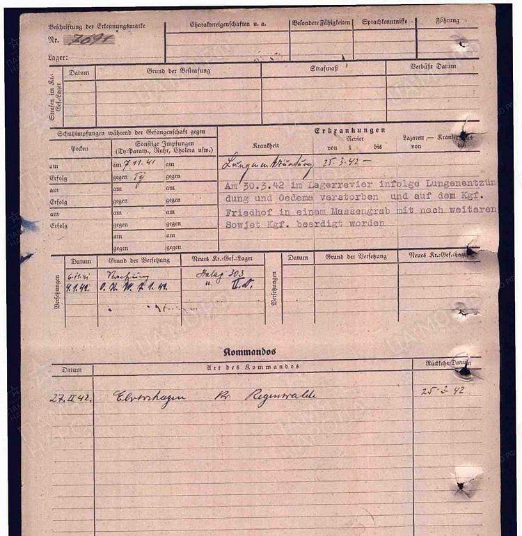 Карточка военнопленного: Соколов Иван Александрович