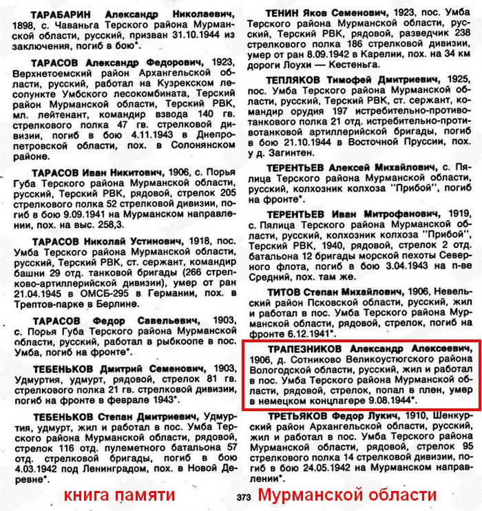 Из книги Памяти Мурманской области: Трапезников Александр Алексеевич
