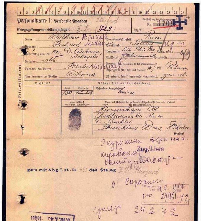 Карточка военнопленного: Волков Михаил Николаевич