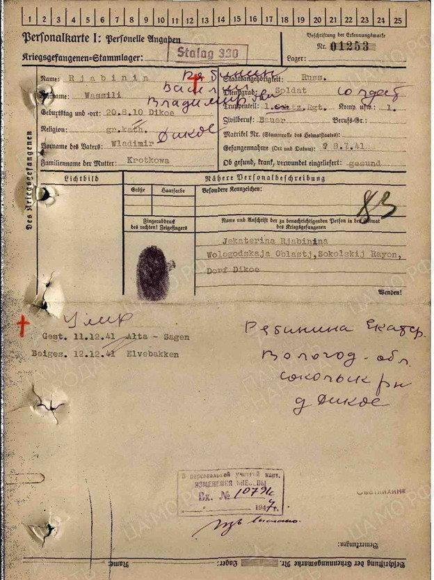 Имя Василия Рябинина занесено в базу военнопленных Норвегии