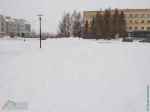 Площадь возле Администрации в Соколе, январь 2021
