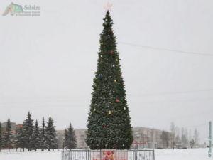 Ёлка на площади, возле Администрации в Соколе, январь 2021